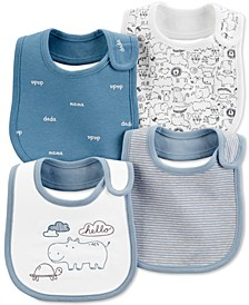 Baby Boys 4-Pack Printed Cotton Bibs