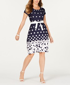 NY Collection Petite Belted Polka-Dot Dress