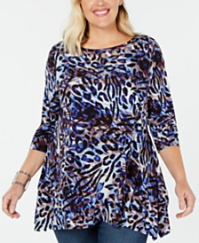 Belldini Plus Size Printed Grommet Tunic
