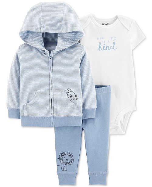 Carter's Baby Boys 3-Pc Printed Cotton Hoodie, Bodysuit & Pants Set