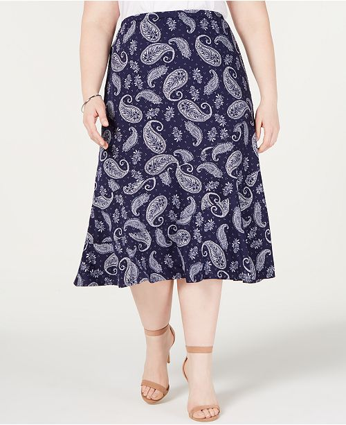 NY Collection Plus Size Printed Seamed Midi Skirt