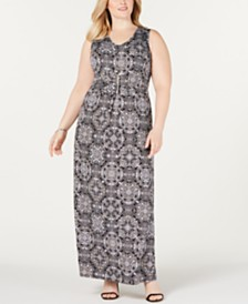 NY Collection Plus Size Printed Necklace Maxi Dress