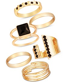 GUESS Gold-Tone 6-Pc. Set Jet Crystal Stack Rings