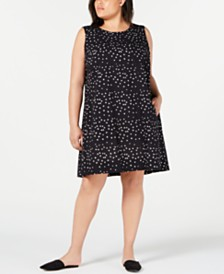 Eileen Fisher Plus Size Organic Cotton Printed Dress