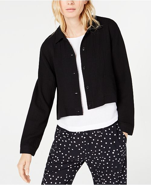Eileen Fisher Organic Cotton Classic-Collar Cropped Jacket, Regular & Petite