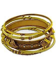 GUESS Gold-Tone 6-Pc. Set Crystal & Bead Thread-Wrapped Bangle Bracelets