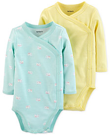 Carter's Baby Girls 2-Pack Side-Snap Printed Cotton Bodysuits