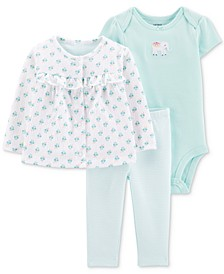 Baby Girls 3-Pc. Printed Cardigan, Bodysuit & Pants Set