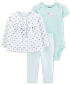 Carter's Baby Girls 3-Pc. Printed Cardigan, Bodysuit & Pants Set
