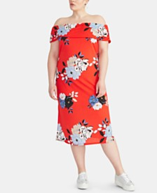 RACHEL Rachel Roy Trendy Plus Size Floral Off-The-Shoulder Midi Dress