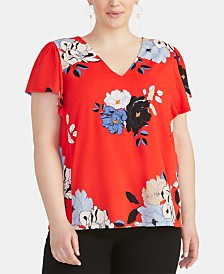 RACHEL Rachel Roy Trendy Plus Size  Floral-Print Ruffled-Sleeve Top