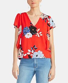 RACHEL Rachel Roy Loreta Floral Ruffled Flutter-Sleeve Top