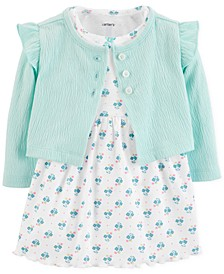 Baby Girls Printed Dress & Cardigan Sweater Set