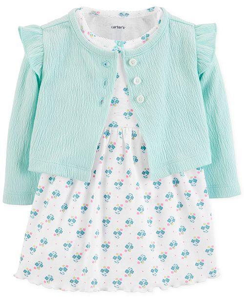 Carter's Baby Girls Printed Dress & Cardigan Sweater Set