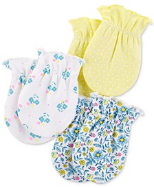 Baby Girls 3-Pk. Cotton Mitts