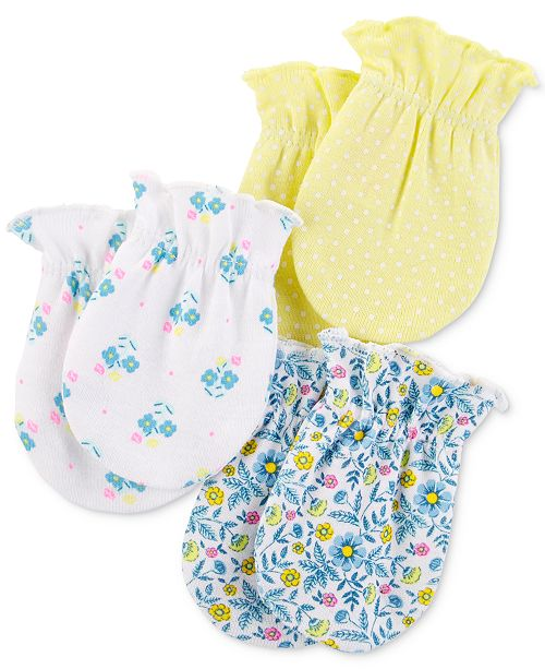 Carter's Baby Girls 3-Pk. Cotton Mitts