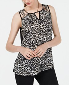 BCX Juniors' Animal-Print Cutout Top