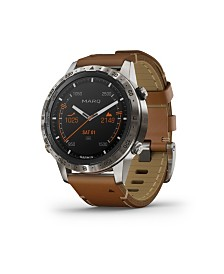 Gramin Mens Marq Expedition Brown Leather Strap Touchscreen Smart Watch,  46mm