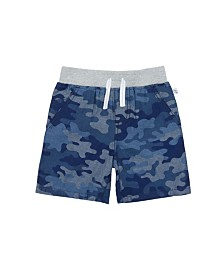 Camo Printed Chambray Cotton Short with Contrast Rib Waistband