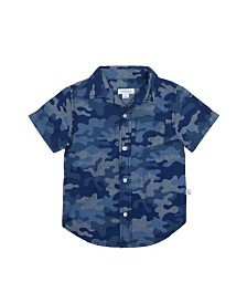 Camo Printed Chambray Cotton Shirt