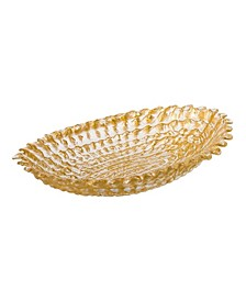 Gold Beveled Oval Bowl, Large