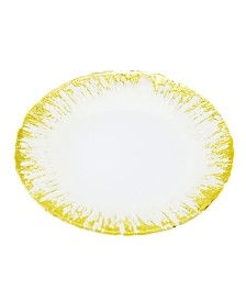 Milky Glass Chargers With Flashy Gold Design, Set Of 4