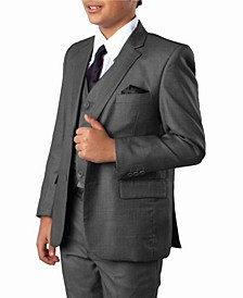 Windowpane 2 Button Front Closure Boys Suit, 5 Piece