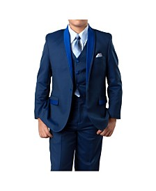 Tazio Toddler and Husky Boys Solid Satin Shawl Collar 1 Button Vested Boys Suit 5 Piece