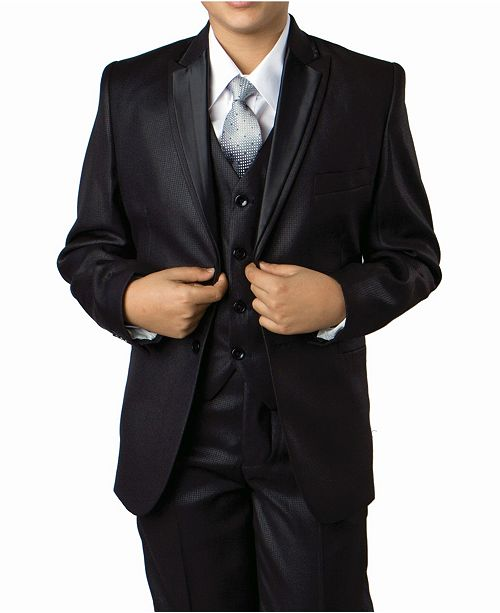 Tazio Solid Peak Lapel 2 Button Vested Boys Suit, 5 Piece