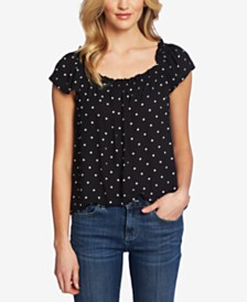 CeCe Square Neck Tropic Dot Blouse