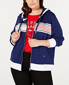 Plus Size Striped Zip-Up Hoodie Sweatshirt