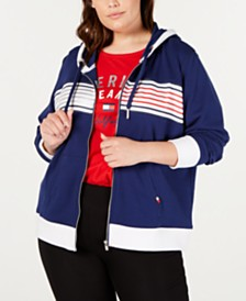 Tommy Hilfiger Sport Plus Size Striped Zip-Up Hoodie Sweatshirt