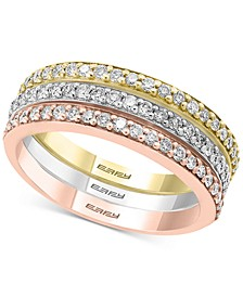 EFFY® Diamond Tri-Color Band Ring (5/8 ct. t.w.) in 14k White Gold, 14k Rose Gold and 14k Gold