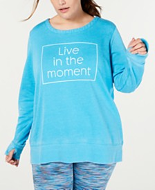 Ideology Plus Size Live The Moment Graphic Strappy-Back Sweatshirt, Created for Macy's