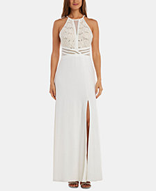 Morgan & Company Juniors' Embellished Illusion-Waist Gown