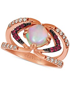 Neopolitan Opal (3/4 ct. t.w.), Passion Ruby (1/6 ct. t.w.), & Nude Diamonds (1/4 ct. t.w.) Ring set in 14k Rose Gold