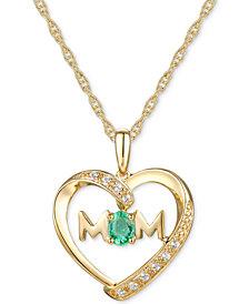 "Emerald (1/6 ct. t.w.) & Diamond Accent Mom Heart 18""  Pendant Necklace in 14k Gold"