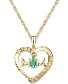 "Emerald (1/6 ct. t.w.) & Diamond Accent Mom Heart 18""  Pendant Necklace in 14k Gold"