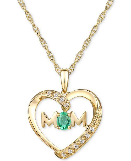 "Macy's Emerald (1/6 ct. t.w.) & Diamond Accent Mom Heart 18""  Pendant Necklace in 14k Gold"