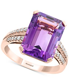 EFFY® Amethyst (7-1/5 ct. t.w.) & Diamond (1/5 ct. t.w.) Statement Ring in 14k Rose Gold