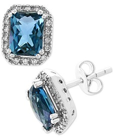 EFFY® London Blue Topaz (3-5/8 ct. t.w.) & Diamond (1/6 ct. t.w.) Stud Earrings in 14k White Gold