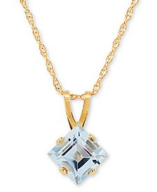 "Aquamarine (1/2 ct. t.w.) 18"" Pendant Necklace in 14k Gold"