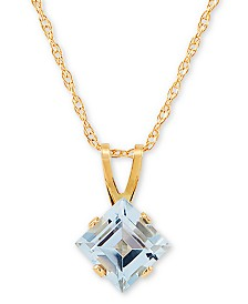 "Aquamarine (1 ct. t.w.) 18"" Pendant Necklace in 14k Gold"