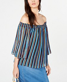 INC Printed Pleated Off-The-Shoulder Top, Created for Macy's