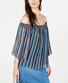 I.N.C. Printed Pleated Off-The-Shoulder Top, Created for Macy's
