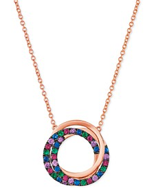 "Multi-Gemstone Swirl 18"" Pendant Necklace in 14k Rose Gold"