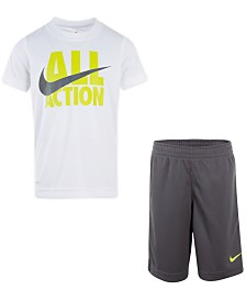 Nike Little Boys 2-Pc. All Action Dri-FIT Logo T-Shirt & Mesh Running Shorts Set