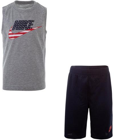 Nike Toddler Boys 2-Pc. Stars & Stripes Logo Muscle T-Shirt & Mesh Shorts Set