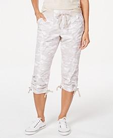 Printed Tie-Hem Capri Pants