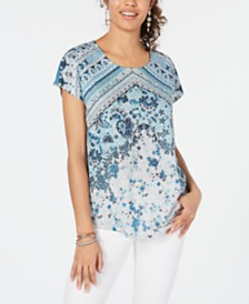 Style & Co Printed Short Sleeve T-Shirt, Created for Macy's